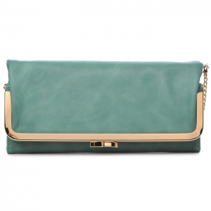 Classic Gold-Toned Framed Fold-Over Clutch - Sea