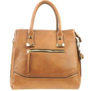 Zipper Pocket Tote Bag X14 30879 BROWN