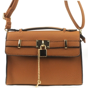 Textured Padlock Messenger X14 30887 BROWN