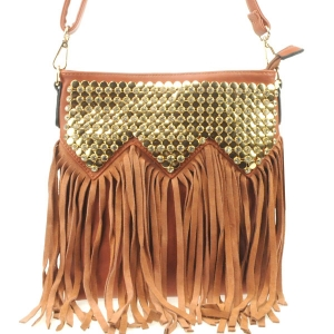 Rhinestone Top Fringe Messenger X24 30891 BROWN