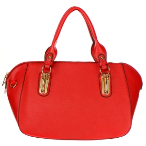 Faux Leather Gold Accentuated Handles Handbag 30975 - Red