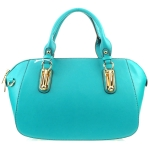 Gold Accentuated Handles Tote X36 30975 TURQUOISE