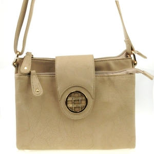Accented Double Compartment Messenger X36 30984 TAUPE