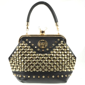 Diamond Lock Rhinestone Studded Satchel Bag CHO 309878 BLACK