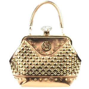 Diamond Lock Rhinestone Studded Satchel Bag CHO 309878 BRONZE