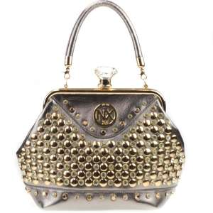 Diamond Lock Rhinestone Studded Satchel Bag CHO 309878 PEWTER