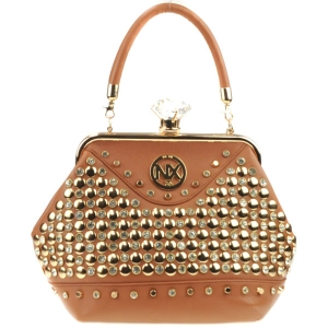 Diamond Lock Rhinestone Studded Satchel Bag CHO 309878 TAN