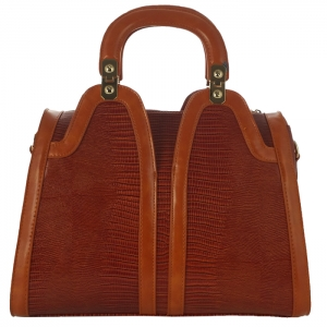 Bora Bora Structured Alligator Skin U-Shaped Handle Handbag 31096 - Mocha