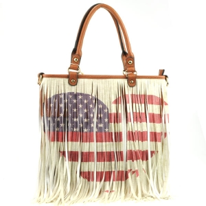 American Heart Fringe Flag Tote X24 31104 BROWN