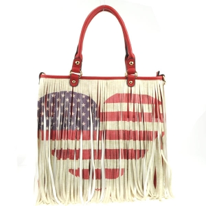 American Heart Fringe Flag Tote X24 31104 RED