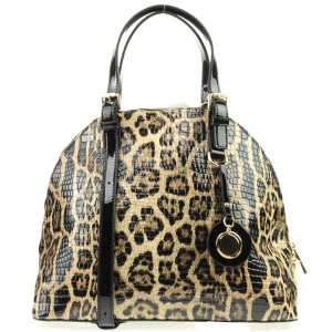 Patent Leopard Print Belt Handbag X24 31154 COFFEE