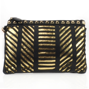 Laser Cut Striped Studded Clutch X27 31177 BLACK