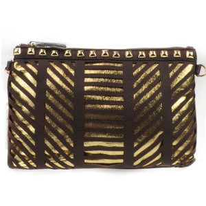 Laser Cut Striped Studded Clutch X27 31177 BROWN