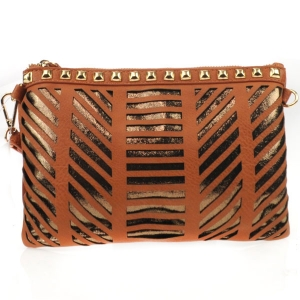 Laser Cut Striped Studded Clutch X27 31177 COGNAC