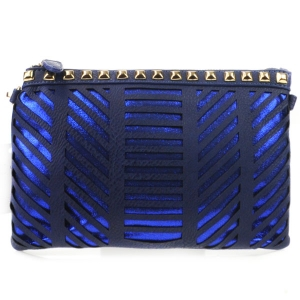 Laser Cut Striped Studded Clutch X27 31177 NAVY