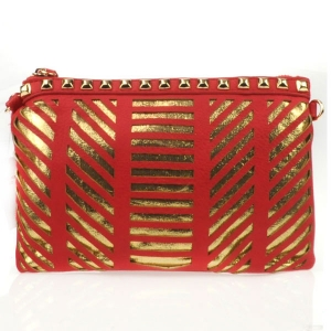 Laser Cut Striped Studded Clutch X27 31177 RED