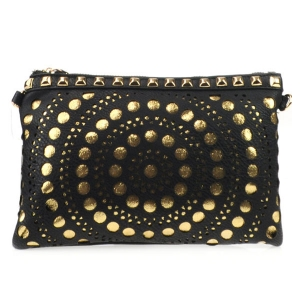 Laser Cut Dotted Studded Clutch X27 31182 BLACK