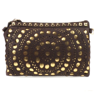 Laser Cut Dotted Studded Clutch X27 31182 BROWN