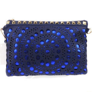 Laser Cut Dotted Studded Clutch X27 31182 NAVY