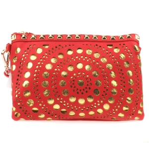 Laser Cut Dotted Studded Clutch X27 31182 RED