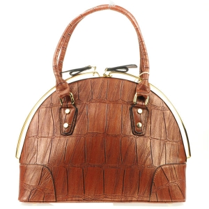 Alligator Rail Zipper Tote X12 31200 LIGHT BROWN
