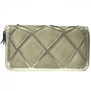 Suede Patch Wallet - Silver