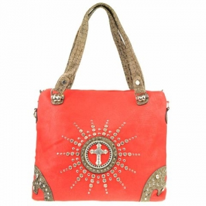 Rhinestone Cross Western Tote X12 31206 RED
