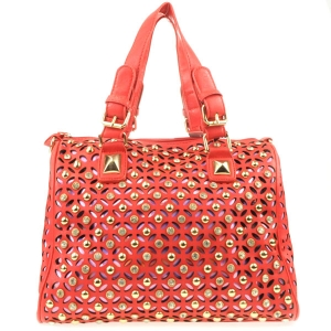 3D Look Laser Cut Rhinestone Satchel X36 31214 RED