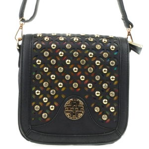 3D Look Laser Cut Rhinestone Messenger X36 31227 BLACK