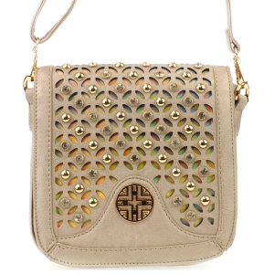 3D Look Laser Cut Rhinestone Messenger X36 31227 PEWTER