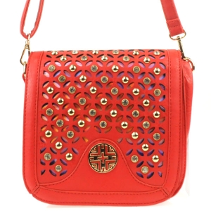 3D Look Laser Cut Rhinestone Messenger X36 31227 RED