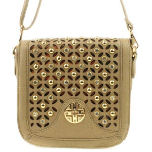 3D Look Laser Cut Rhinestone Messenger X36 31227 TAUPE