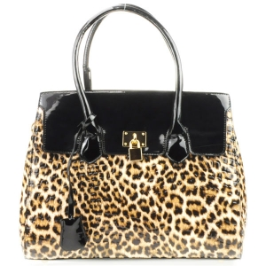 Leopard Print Patent Handbag X35 31279 MD BROWN
