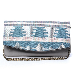 Urban Expressions Leona Print Clutch 10120-ur UE 31334 TURQUOISE GREY