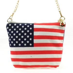 Chain Strap American Flag Canvas Bag COM 31344 RED AND WHITE
