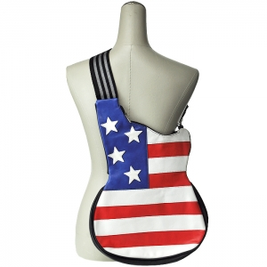 American Flag Guitar Shaped Messenger Style Bag - Red and White
