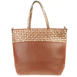 Rhinestone and Studs Top Tote Bag X24 31349 BROWN