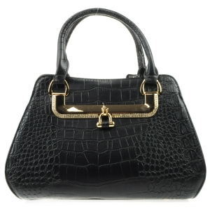 Rhinestone Accented Alligator Satchel X36 31423 BLACK
