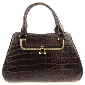Rhinestone Accented Alligator Satchel X36 31423 BROWN