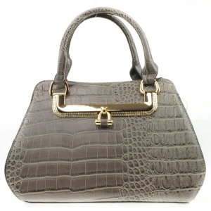 Rhinestone Accented Alligator Satchel X36 31423 GREY