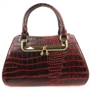 Rhinestone Accented Alligator Satchel X36 31423 RED