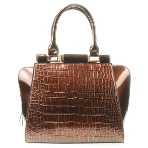 Alligator Skin Winged Tote Bag X42 31451 BROWN