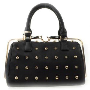 Small Studs Gold Rail Zipper Satchel X42 31456 BLACK