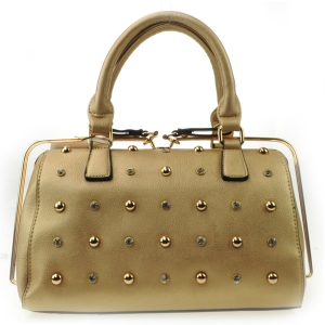 Small Studs Gold Rail Zipper Satchel X42 31456 GOLD