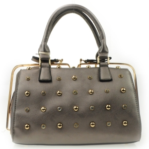 Small Studs Gold Rail Zipper Satchel X42 31456 PEWTER