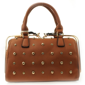 Small Studs Gold Rail Zipper Satchel X42 31456 TAN