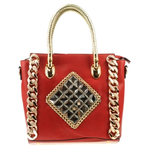 Mirror Stones Chain Tote X28 31470 RED