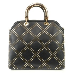 Studded Pattern Gold Handle Tote X27 31486 BLACK