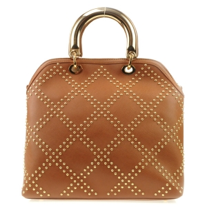 Studded Pattern Gold Handle Tote X27 31486 BROWN