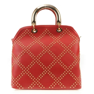 Studded Pattern Gold Handle Tote X27 31486 RED